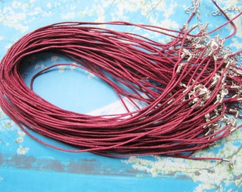 30pcs 1.5mm 18-20 inch adjustable maroon waxed cotton necklace cords with lobster clasp
