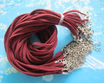 15pcs 16-18 inch 3mm maroon suede leather necklace cords with small closure