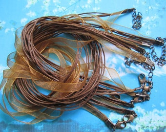 ANTIQUED COPPER finish--10pcs 18-20 inch adjustable brown organza ribbon necklace cords