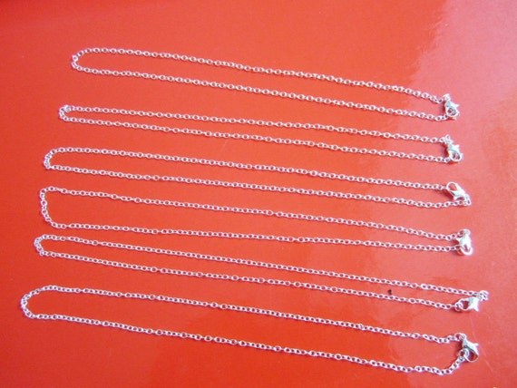 lead and nickel free 24pcs bright silver 17 inch cable necklace chain with 12mm lobster clasps