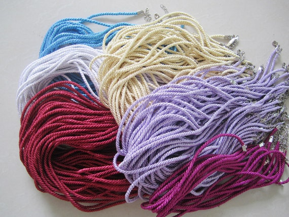 50pcs 16-18 inch 3mm assorted(11 different  colors for your choose) braided silk necklace cords with very strong finish