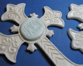 Baptism Cross - Religious Cake Topper, Confirmation Cake Topper, Lightweight, Paperclay