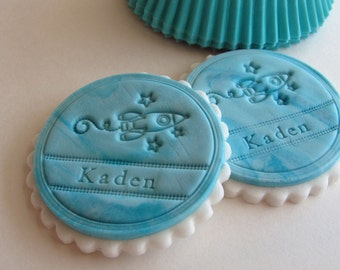 Rocketship Fondant Cupcake Toppers, Kids Birthday Party Decoration, Spaceship, Personalized