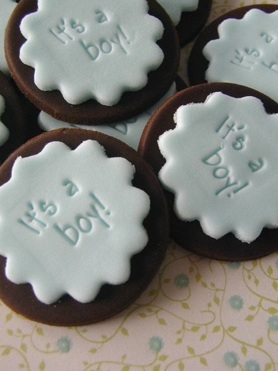 Baby Shower Cake Decorations Edible : Items similar to 12 Edible Fondant It s a Boy Baby Shower ...