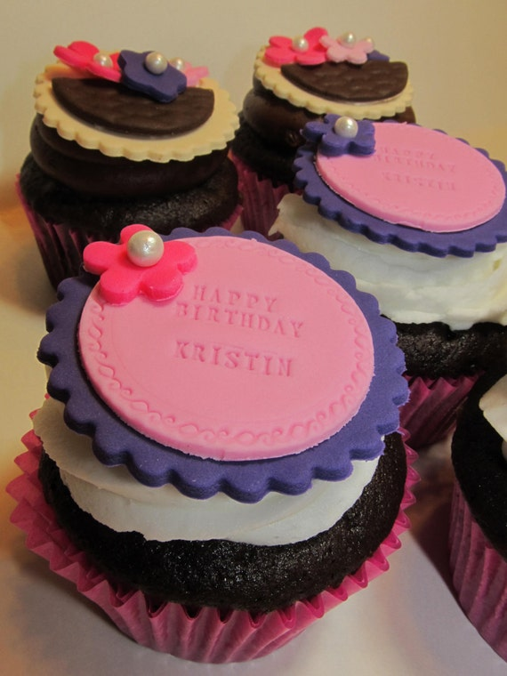Personalized Cupcake Topper - Weddings - Birthdays - Mothers Day - baking supply, edible cupcake decoration