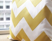 Yellow Chevron Pillow - Square - Home and Living / Decor and Housewares