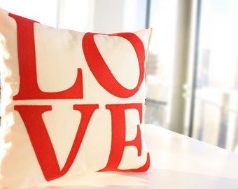 Serif LOVE Pillow - Custom Color - You Choose - Back to School - Valentine's Day Gift - Dorm Decor