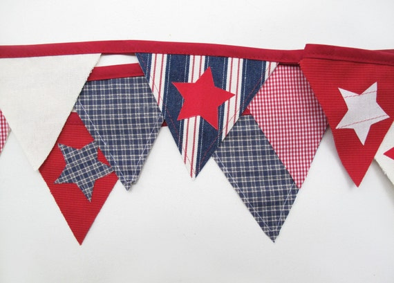 SUPER SALE-- Red White and Blue Bunting Decoration - Made in America
