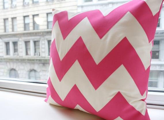 Hot Pink Chevron Pillow - Square