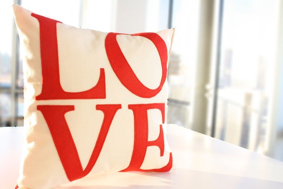 Serif LOVE Pillow - Custom Color - You Choose - Back to School - Valentine's Day Gift - Dorm Decor