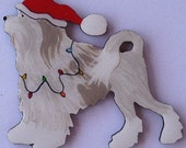 Lowchen Christmas Pin, Magnet or Ornament -Color Choice -Free Shipping -Hand Painted