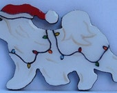 Coton de Tulear Christmas Pin, Magnet or Ornament -Free Shipping -Hand Painted