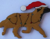Leonberger Christmas Pin, Magnet or Ornament-Free Shipping-Hand Painted