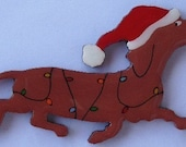 Red Doxie Christmas Pin, Magnet or Ornament in Smooth, Wire, Long Hair or Dapple -Free Shipping -Hand Painted Dachshund
