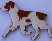 Brittany Pin, Magnet or Ornament -Free Shipping -Hand Painted