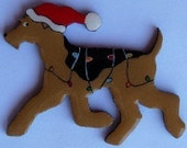 Airedale Terrier Christmas Pin, Magnet or Ornament -Free Shipping -Hand Painted