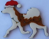 Siberian Husky Christmas Pin, Magnet or Ornament-Color Choice-Free Shipping-Hand Painted- Free Personalization Available