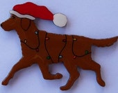Chesapeake Bay Retriever Christmas Pin, Magnet or Ornament -Free Shipping- Free Personalization Available -Hand Painted