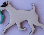 Smooth Fox Terrier Pin, Magnet or Ornament -Free Shipping -Hand Painted