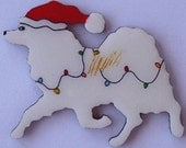 American Eskimo Dog Christmas Pin, Magnet or Ornament -Free Shipping -Hand Painted