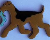 Airedale Terrier Pin, Magnet or Ornament -Free Shipping -Hand Painted