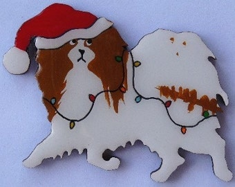 Japanese Chin Christmas Pin, Magnet or Ornament-Color Choice-Free Shipping-Hand Painted