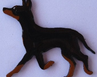 Manchester Terrier Pin, Magnet or Ornament -Free Shipping -Hand Painted