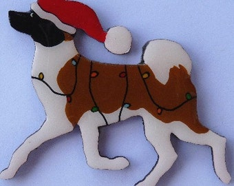 Japanese Akita Christmas Pin, Magnet or Ornament -Color Choice -Free Shipping -Hand Painted- Free Personalization Available