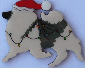 Keeshond Christmas Pin, Magnet or Ornament-Free Shipping-Hand Painted