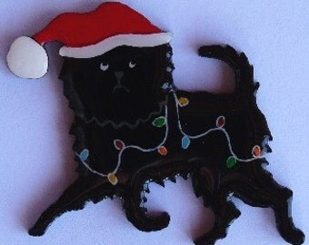 Affenpinscher Christmas Pin, Magnet or Ornament -Color Choice -Free Shipping -Hand Painted