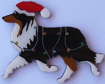 Collie Christmas Pin, Magnet or Ornament -Color Choice - Hand Painted - Free Shipping- Free Personalization Available