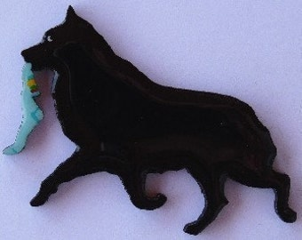 Schipperke Pin, Magnet or Ornament -Free Shipping -Hand Painted