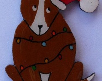 Bull Terrier Christmas Pin, Magnet or Ornament-Free Shipping-Color Choice-Hand Painted