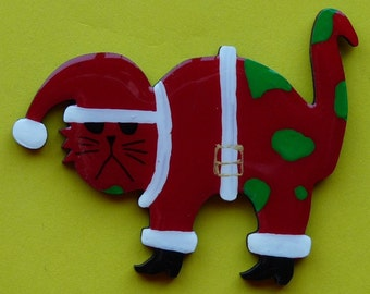 Santa Cat Pin, Magnet or Ornament- Free Shipping- Hand Painted