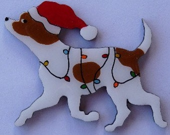 Chihuahua Christmas Pin, Magnet or Ornament -Color Choice -Free Shipping- Free Personalization Available -Also See Long Hair