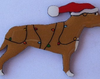 Staffordshire Bull Terrier Christmas Pin, Magnet or Ornament-Color Choice-Free Shipping-Hand Painted- Free Personalization Available