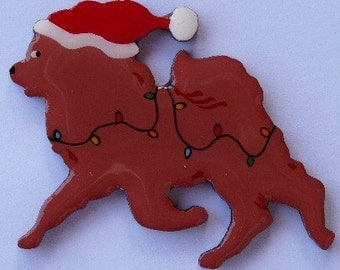 Christmas Chow Pin, Magnet or Ornament -Color Choice -Free Shipping- Free Personalization Available -Hand Painted