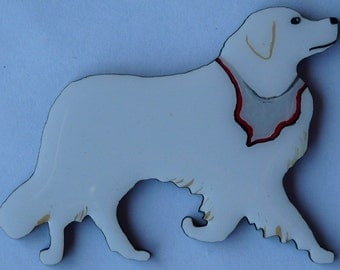 Kuvasz Pin, Magnet or Ornament -Free Shipping -Hand Painted