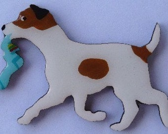 Jack Russell Pin, Magnet or Ornament -Free Shipping -Hand Painted