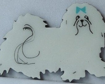 Maltese Pin, Magnet or Ornament-Free Shipping-Hand Painted