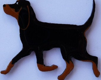 Black/Tan, Bluetick or Redbone Coonhound Pin, Magnet or Ornament -Free Shipping -Hand Painted