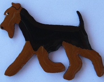 Welsh Terrier Pin, Magnet or Ornament -Free Shipping -Hand Painted