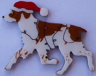 Brittany Spaniel Christmas Pin, Magnet or Ornament -Free Shipping -Hand Painted- Free Personalization Available
