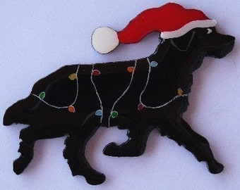 Newfoundland Dog Christmas Pin, Magnet or Ornament-Free Shipping-Hand Painted- Free Personalization Available