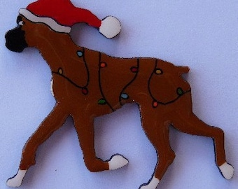 Boxer Christmas Pin, Magnet or Ornament in Sable or Brindle-Free Shipping-Hand Painted- Free Personalization Available