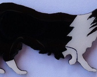 Border Collie Pin, Magnet or Ornament -Free Shipping -Color Choice -Hand Painted