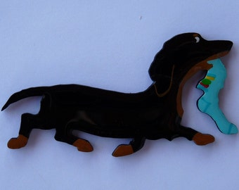 Doxie Pin, Magnet or Ornament in Smooth, Wire, Long Hair or Dapple-Free Shipping-Hand Painted Dachshund