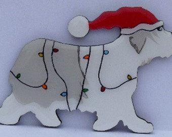 Polish Lowland Sheepdog Christmas Pin, Magnet or Ornament-Color Choice-Free Shipping-Hand Painted