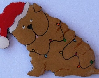 Sharpei Christmas Pin, Magnet or Ornament -Free Shipping  -Hand Painted - Shar-pei