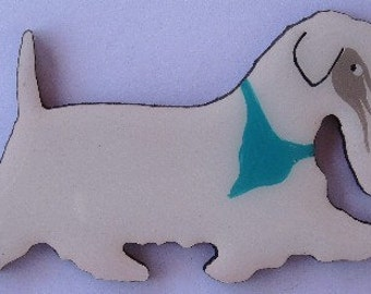 Sealyham Terrier Pin, Magnet or Ornament- Free Shipping -Hand Painted